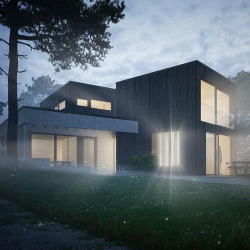 Holzwürfel Haus